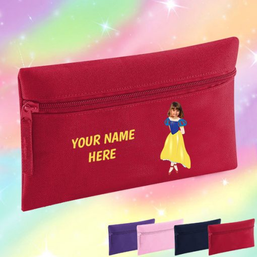 red snow white pencil case
