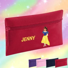 red pancil case with snow white image