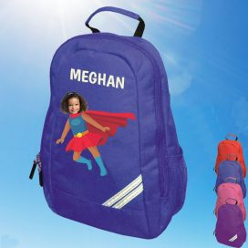 blue backpack with supergirl image
