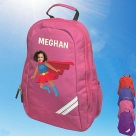 pink backpack with supergirl image
