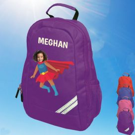 purple backpack with supergirl image