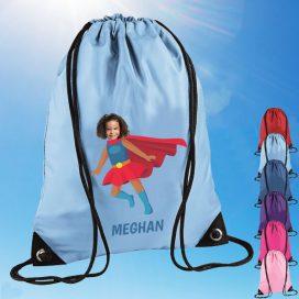 sky blue drawstring bag with supergirl image