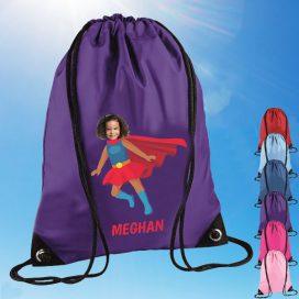 purple drawstring bag with supergirl image
