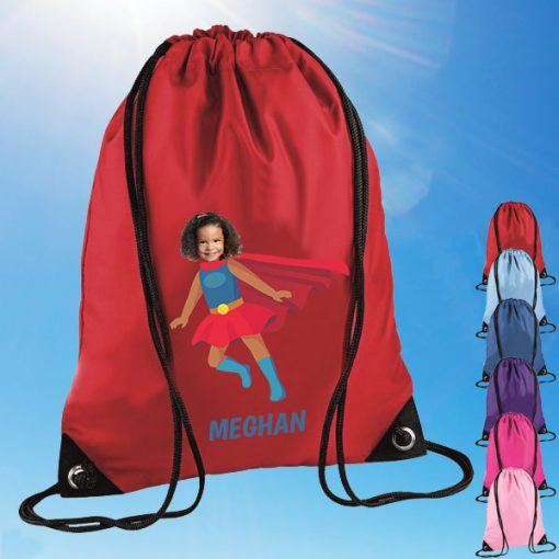 red drawstring bag with supergirl image