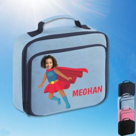 sky blue lunch bag with supergirl image
