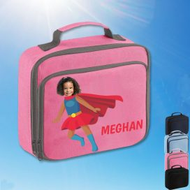 pink lunch bag with supergirl image
