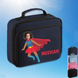 navy lunchbag with supergirl image