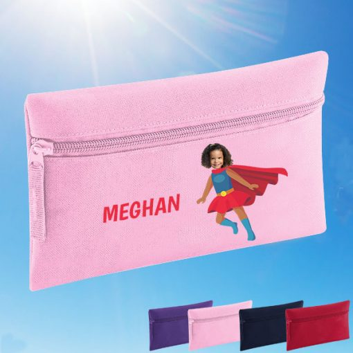 pink pencil case with supergirl image