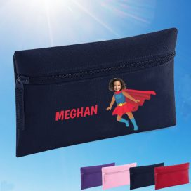 navy pencil case with supergirl image