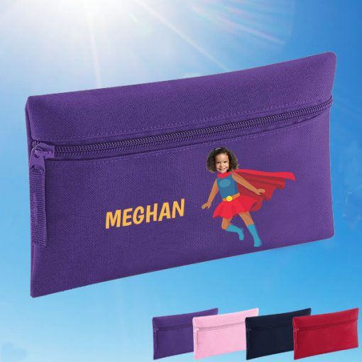 purple pencil case with supergirl image