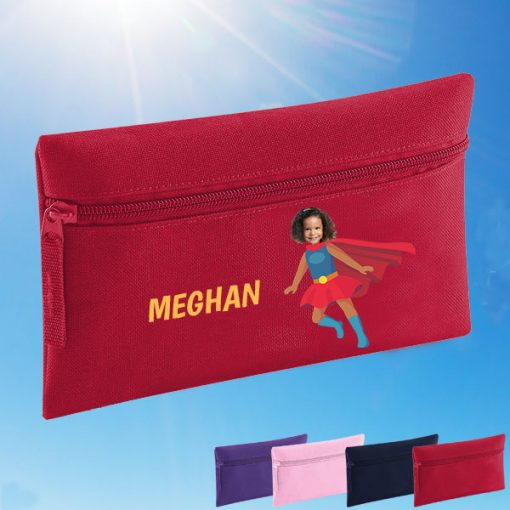red pencil case with supergirl image