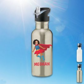 silver water bottle with supergirl image