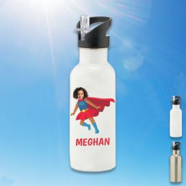 white water bottle with supergirl image
