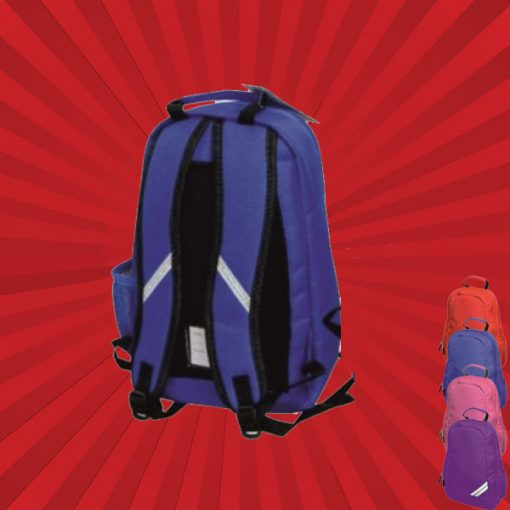 back of blue backpack with wonderkid image