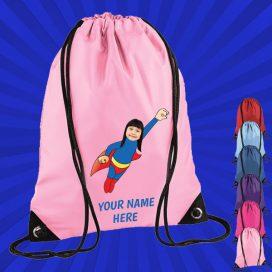 light pink wonderkid drawstring bag