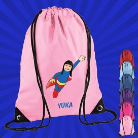 light pink drawstring bag with wonderkid image