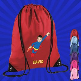 red drawstring bag with wonderkid image
