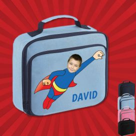 sky blue lunch bag with wonderkid image