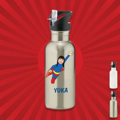 silver water bottle with wonderkid image
