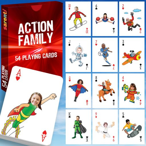 Playing Cards 54 Pack Action Family