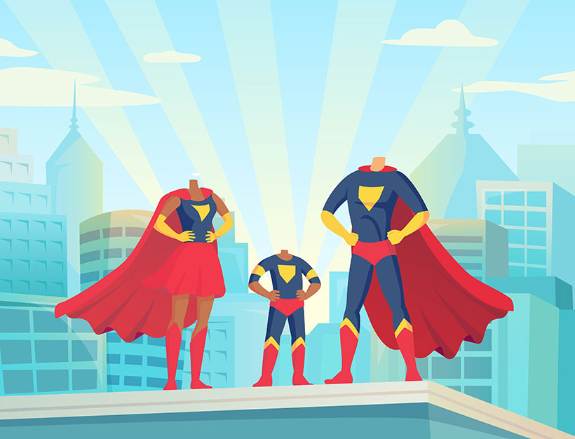 create your own family superhero personalised portrait