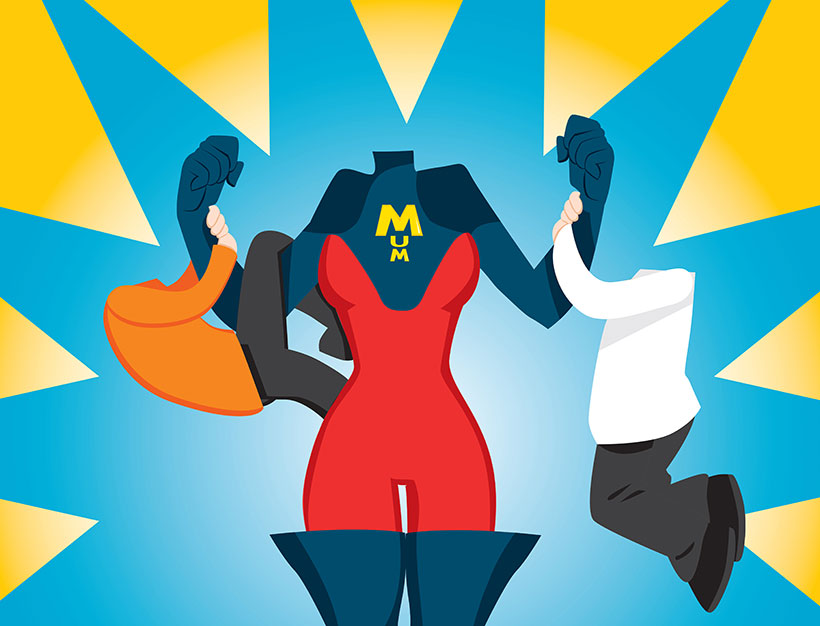 create your own superhero mum family personalised portrait