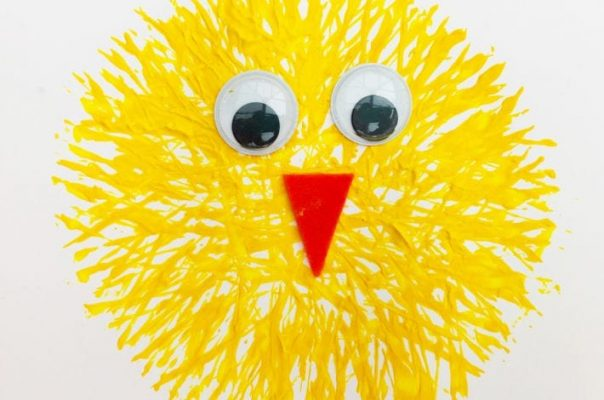 yellow paint chick with eyes and beak