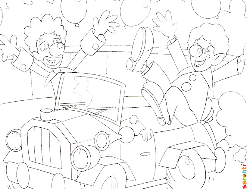 personalised-colouring-circus-clown-cars