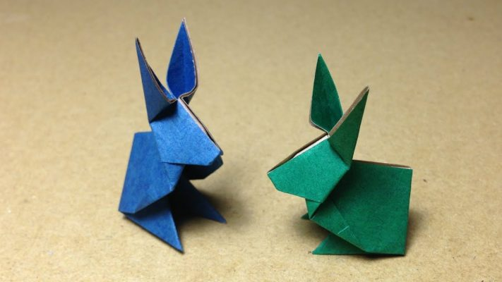 Two origami rabbits