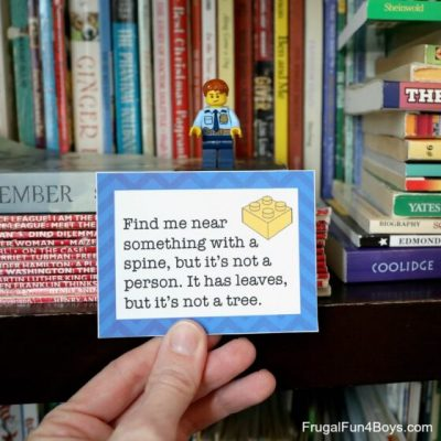 lego figurine on bookshelf