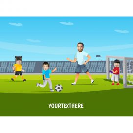 personalised-family-portrait-football-1adult-3kids