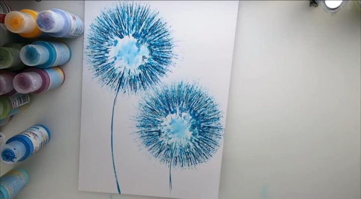 dandelion art from toilet roll