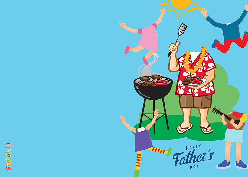 personalised-fathers-day-card-barbecue-4kids-portrait