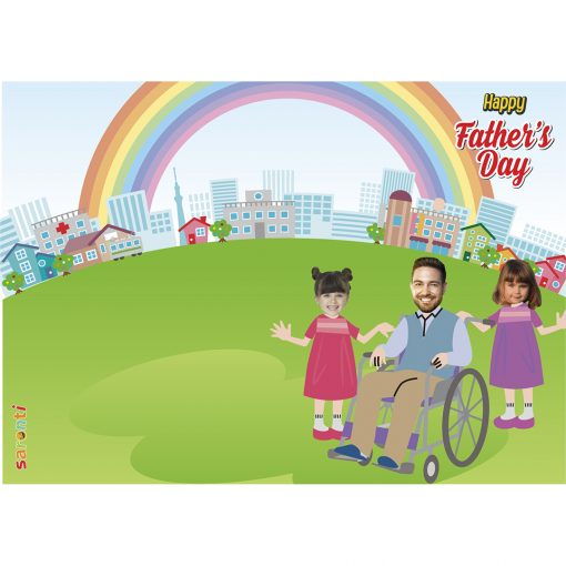 personalised-fathers-day-card-wheelchair-dad-2girls-portrait