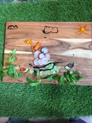 Food art on chopping board
